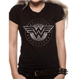 Wonder Woman Movie - Chrome Logo - Women Fitted T-shirt Black