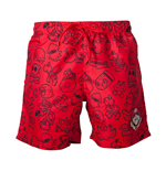NINTENDO Super Mario Bros. Men's Mario Face & All-over Characters Print Swimming Shorts, Large, Red