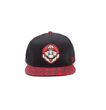 NINTENDO Super Mario Bros. Mario Face Snapback Baseball Cap with Animal Print Brim, One Size, Black/Red