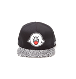 NINTENDO Super Mario Bros. Boo Ghost Rubber Patch Snapback Baseball Cap with Animal Print Brim, One Size, White/Black