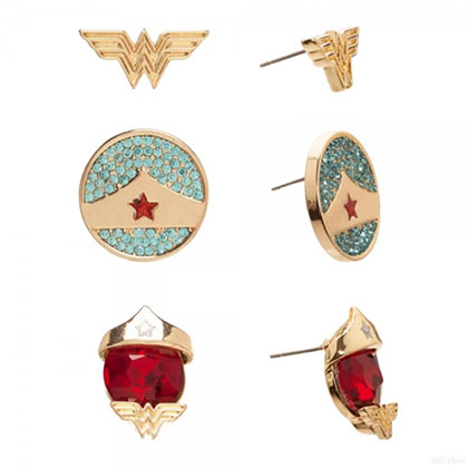 WONDER WOMAN Stud Earrings 3-Pack