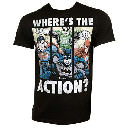 JUSTICE LEAGUE Where's The Action Tee Shirt