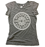 The Beatles Ladies Fashion Tee: Sgt Pepper Drum (Acid Wash & Caviar Beads)