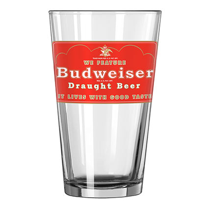 BUDWEISER Draught Beer Pint Glass