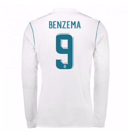 2017-18 Real Madrid Long Sleeve Home Shirt (Benzema 9)