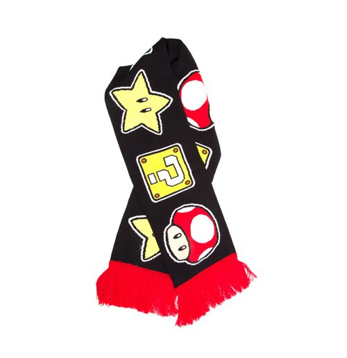 Buy Nintendo Super Mario Bros Mushroom Star And Question Mark Knitted Scarf One Size Black Red