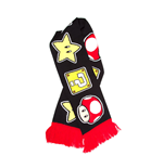 NINTENDO Super Mario Bros. Mushroom, Star and Question Mark Knitted Scarf, One Size, Black/Red