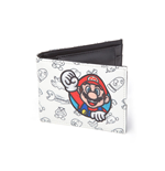 NINTENDO Super Mario Bros. Mario Patch with All-over Pattern Bi-fold Wallet, White