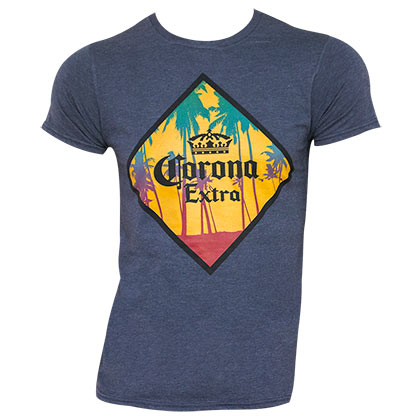 CORONA EXTRA Palm Tree Blue Tee Shirt