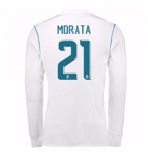 check out d114e 52a1d 2017-18 Real Madrid Long Sleeve Home Shirt - Kids (Morata 21)