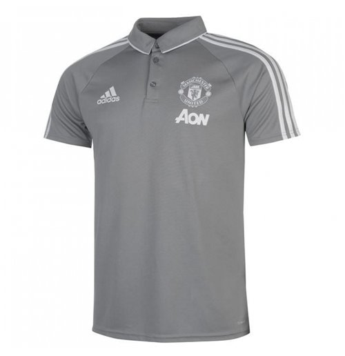 2017-2018 Man Utd Adidas Training Polo Shirt (Grey)