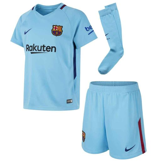 cheap for discount 32f55 04833 2017-2018 Barcelona Away Nike Little Boys Mini Kit