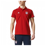 2017-2018 Bayern Munich Adidas 3S Polo Shirt (Red)
