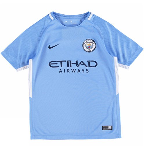 2017-2018 Man City Home Nike Football Shirt (Kids)