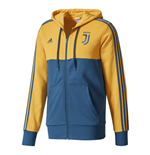 2017-2018 Juventus Adidas 3S Hooded Zip (Yellow)