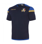 2017-2018 Italy Macron Rugby Official Cotton T-Shirt (Navy)