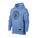 2017-2018 Man City Nike Core Hooded Top (Blue) - Kids