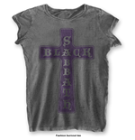 Black Sabbath Ladies Fashion Tee: Vintage Cross with Burn Out Finishing