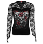 Skulls N Roses - Lace Neck Goth Top Black