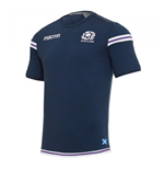 2017-2018 Scotland Macron Rugby Official Poly Cotton T-Shirt (Navy)