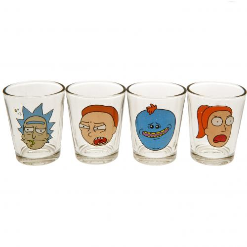 Rick And Morty 4pk Shot Glass Set