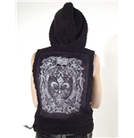 Black fuzzy hooded waistcoat with print