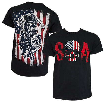 SONS OF ANARCHY Patriotic Black Tee Shirt