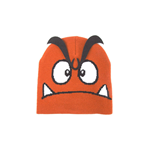 NINTENDO Super Mario Bros. Goomba Face Cuffless Beanie with 3D Eyebrows, One Size, Orange