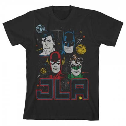 JUSTICE LEAGUE Youth JLA Black Tee Shirt