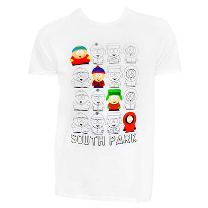 SOUTH PARK Character Outline White Tee Shirt