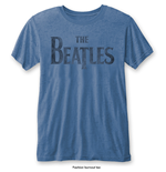 The Beatles Men's Fashion Tee: Drop T Logo with Burn Out Finishing