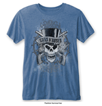 Guns N' Roses Men's Fashion Tee: Faded Skull with Burn Out Finishing
