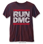 Run DMC Men's Fashion Tee: DMC Logo with Burn Out Finishing