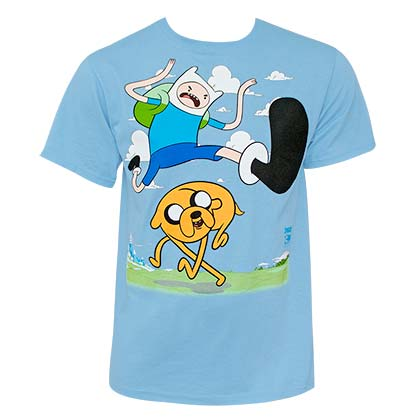 ADVENTURE TIME Kick Jump Light Blue Tee Shirt