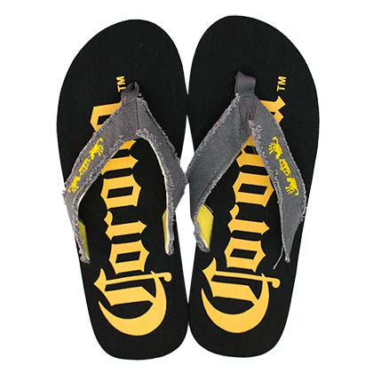CORONA EXTRA Men's Big Logo Black Flip Flops