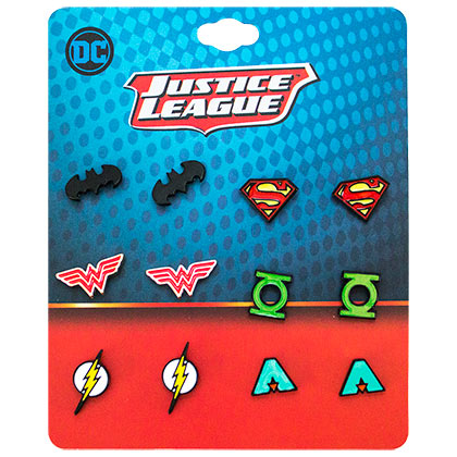 JUSTICE LEAGUE Stud Earrings 6-Pack