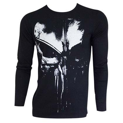 The PUNISHER Distressed Long Sleeve Black Thermal Shirt