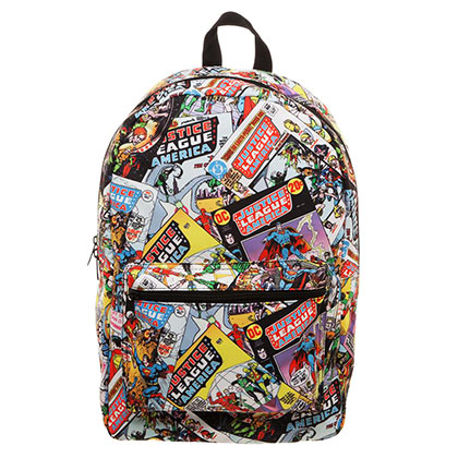 JUSTICE LEAGUE All Over Comic Print Backpack