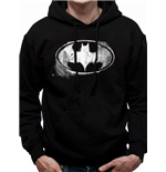 Batman - Mono Distressed Logo - Unisex Hooded Sweatshirt Black