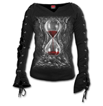 Sands Of Death - Laceup Sleeve Top Black