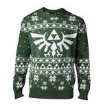 NINTENDO Legend of Zelda Men's Knitted Royal Crest Christmas Sweater, Small, Green