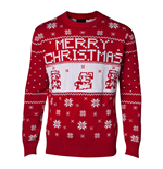 NINTENDO Super Mario Bros. Men's Knitted Pixel Mario Merry Christmas Sweater, Small, Red