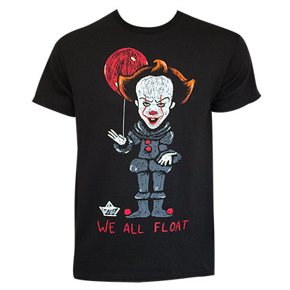 IT We All Float Black Tee Shirt
