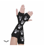 Arm warmers. Black with 4 white skulls.