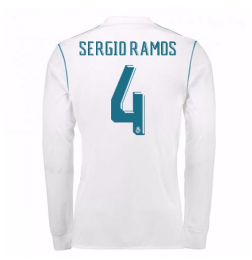 pretty nice dc8d6 73890 2017-18 Real Madrid Long Sleeve Home Shirt (Sergio Ramos 4)