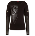 Bat Curse - Mesh Sleeve Zip Shoulder Long Sleeve Ladies