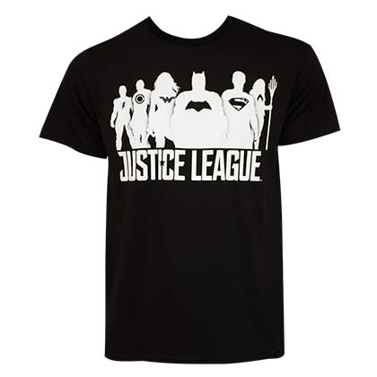 JUSTICE LEAGUE White Silhouettes Black T-Shirt