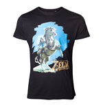 NINTENDO Legend of Zelda Breath of the Wild Men's Link on his Horse T-Shirt, Extra Large, Black