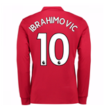 2017-2018 Man United Home Long Sleeve Home Shirt (Ibrahimovic 10)