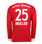 2017-18 Bayern Munich Home Long Sleeve Shirt (Muller 25)